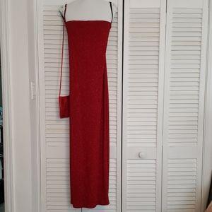 Red Strapless Dress Size 6 w/ Matching Evening Bag
